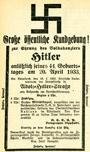Aufruf der Lippstädter NSDAP zum Besuch einer Kundgebung 'zur Ehrung des Volkskanzlers Hitler anlässlich seines 44. Geburtstages am 20. April 1933' mit vorausgehender (19.04.1933) Umbenennung der Lange Straße in Adolf-Hitler-Straße