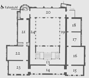Westfälisches Landesmuseum für Kunst und Kulturgeschichte Münster, Raumplan Altbau, 1. Obergeschoß