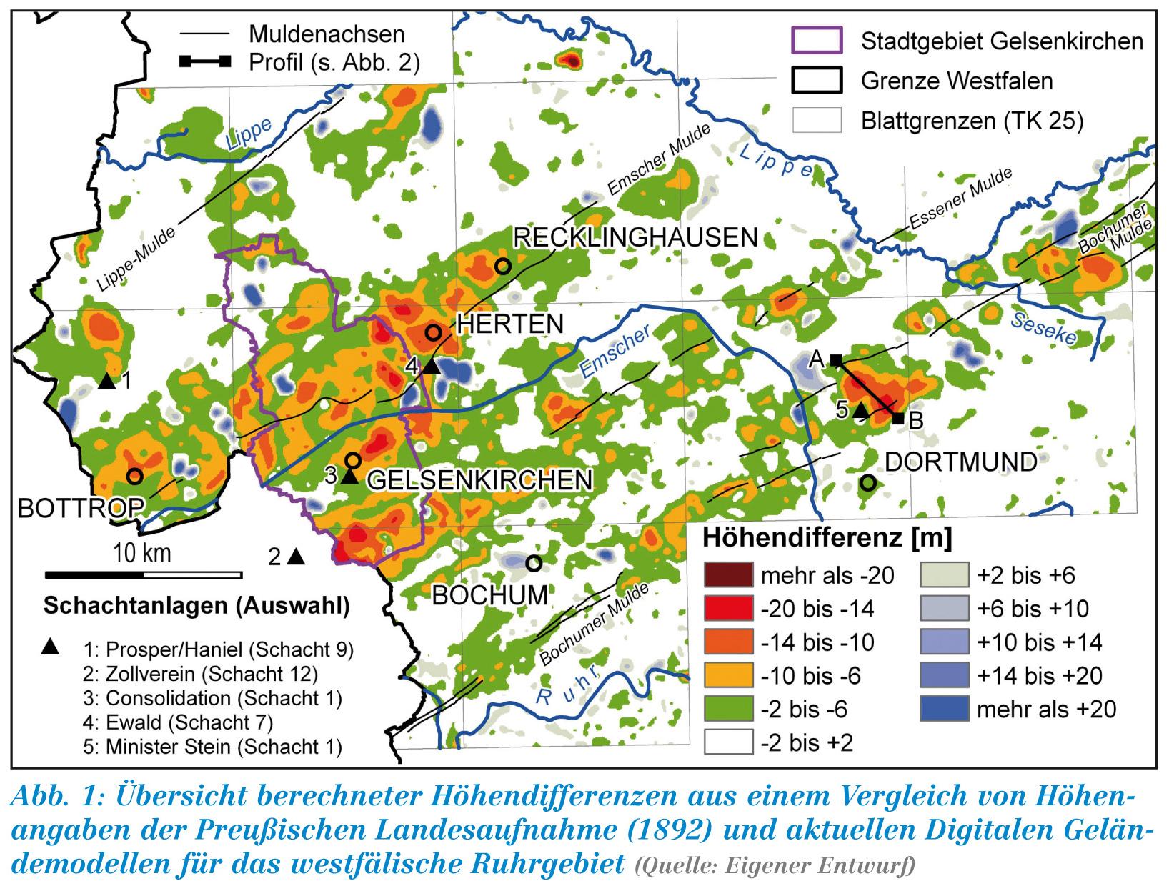 Karte Ruhrgebiet Städte.Lwl Bergsenkungen Im Ruhrgebiet Westfalen Regional
