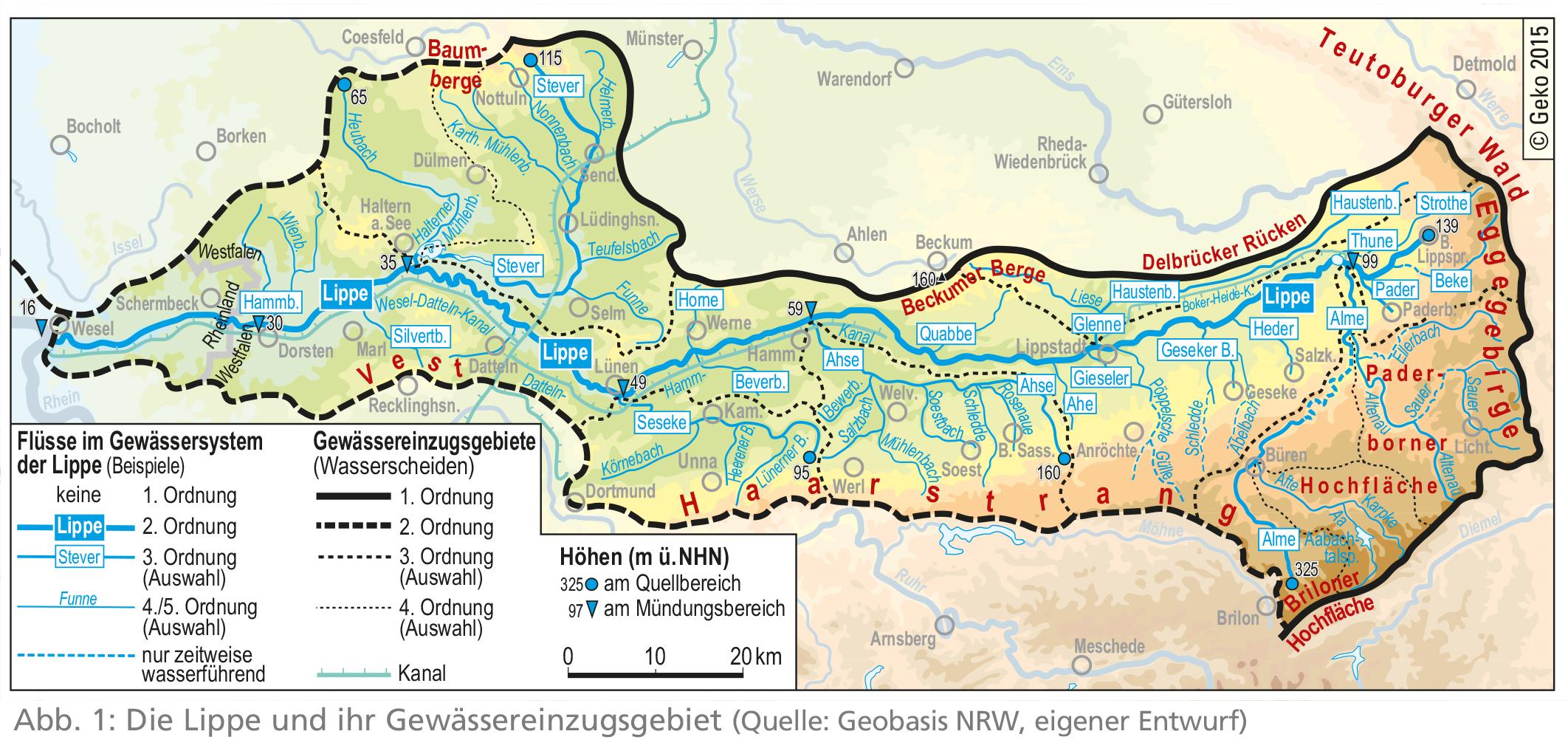 lippe fluss karte LWL   Die Lippe und ihr Gewässereinzugsgebiet   Westfalen Regional lippe fluss karte