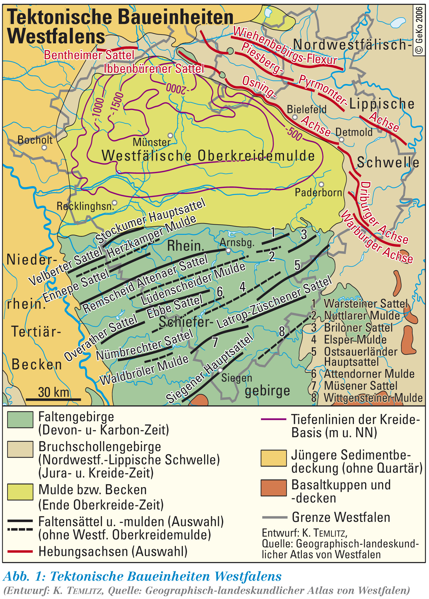 Geologische Karte Ruhrgebiet.Lwl Tektonische Baueinheiten Westfalens Westfalen Regional
