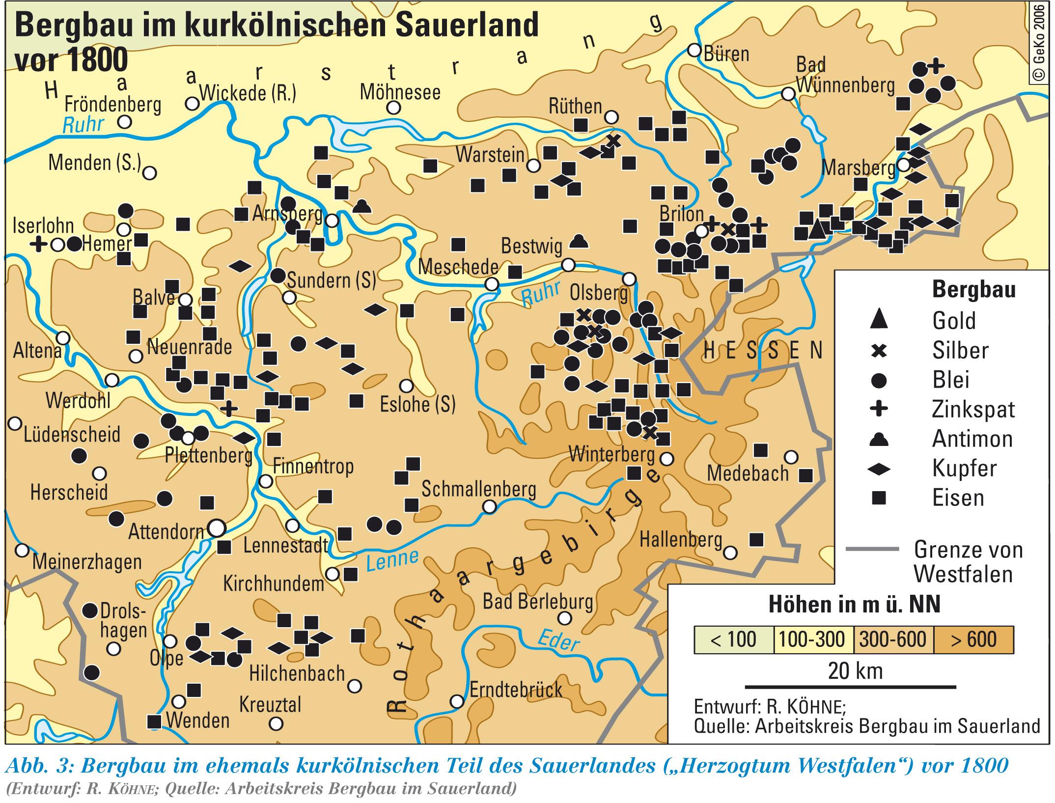 Sauerland Karte Deutschland.Lwl Historischer Erzbergbau Im Sauerland Westfalen Regional