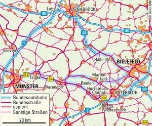 lwl bundesstra e b64n zwischen m nster und bielefeld westfalen regional. Black Bedroom Furniture Sets. Home Design Ideas