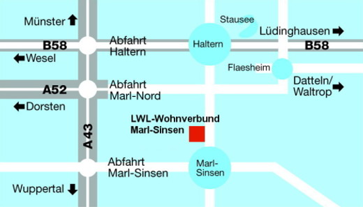 Das Bild zeigt die Lage des Wohnverbundes in Marl-Sinsen
