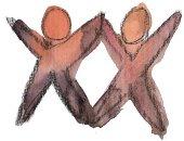 Logo des Vereins, es zeigt zwei Stirchmenschen die sich stützen